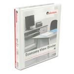 """Round Ring Economy Vinyl View Binder, 1"""" Capacity, White"""