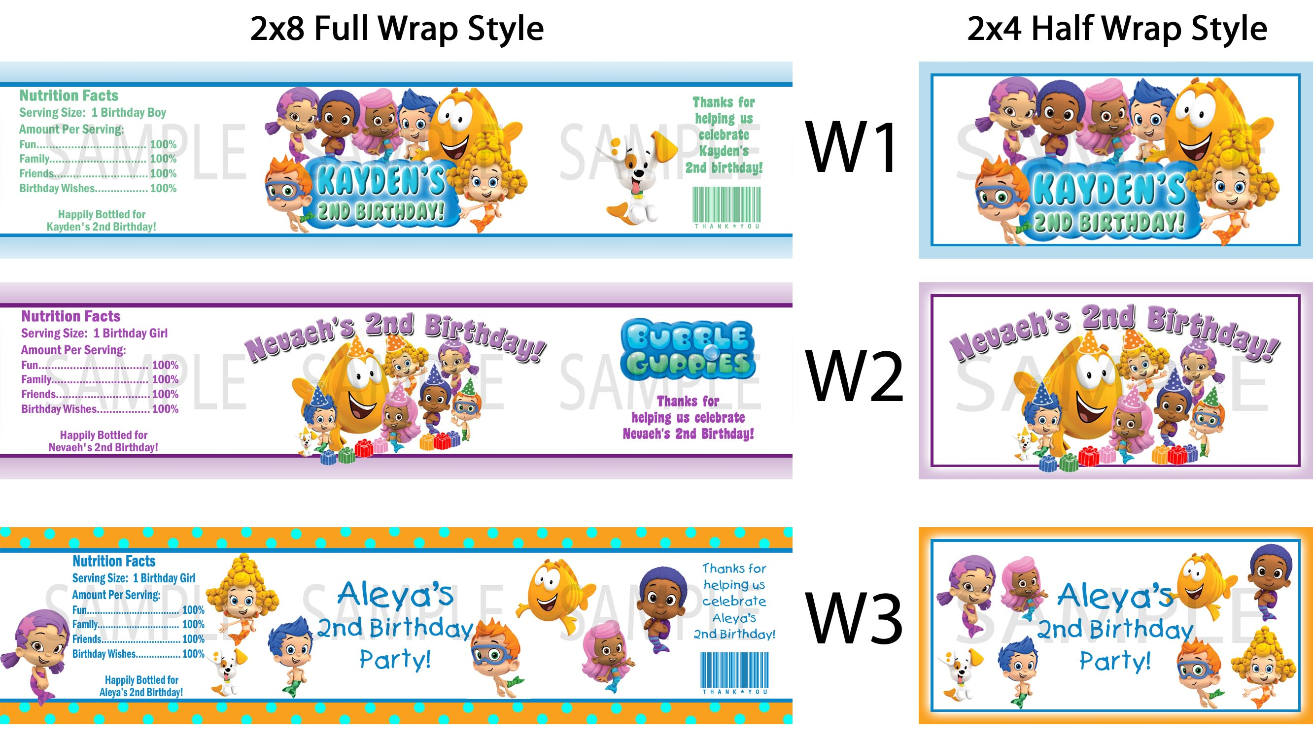Bubble Guppies ~ Water Bottle Labels ~ Birthday Party Baby Shower ...