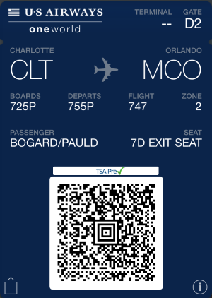 Screenshot of digital boarding pass