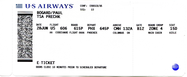 Scan of paper boarding pass