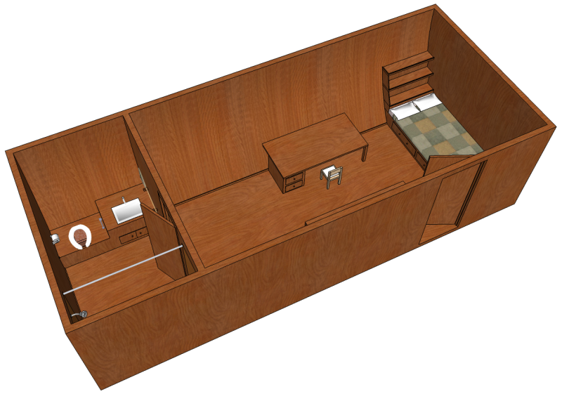 SketchUp model of living quarters on a boat