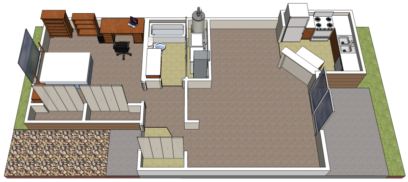 SketchUp model of an apartment layout