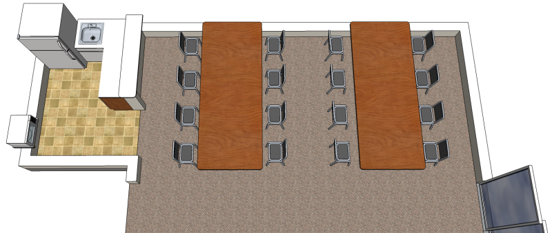SketchUp model of a basement room, from a viewpoint above the rear tables