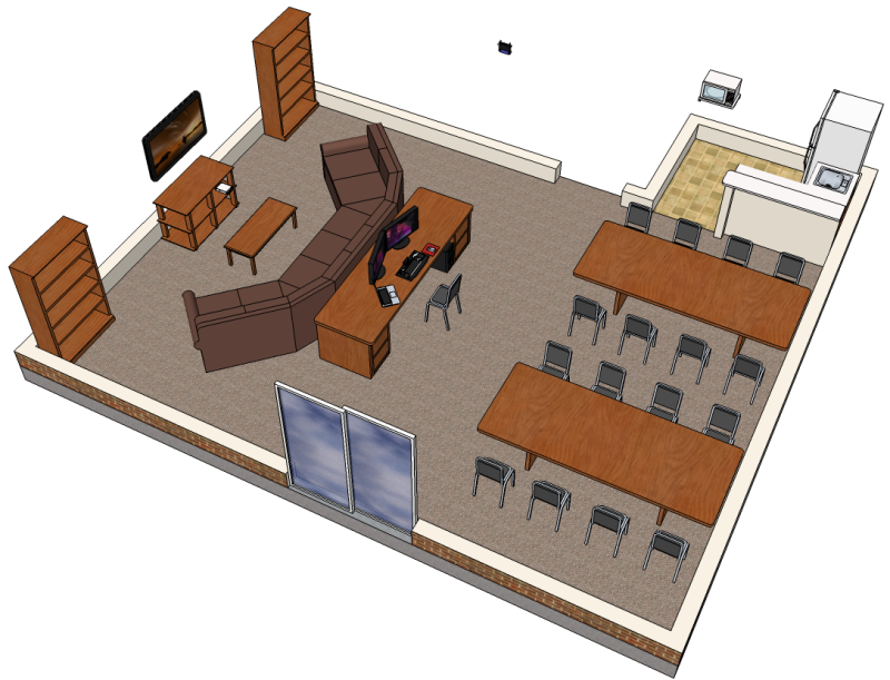 SketchUp model of a basement room