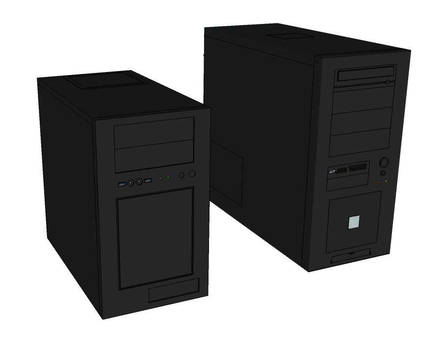SketchUp models of two desktop towers