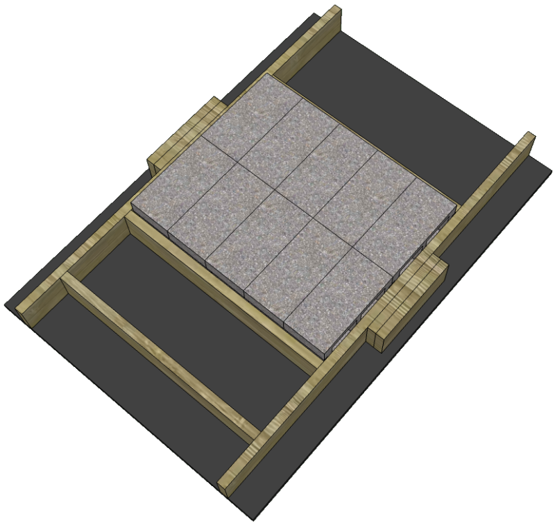 SketchUp model of a wooden frame