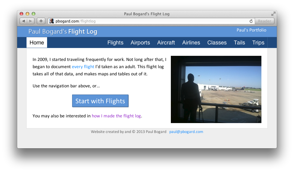 Screenshot of the Flight Log's Home page
