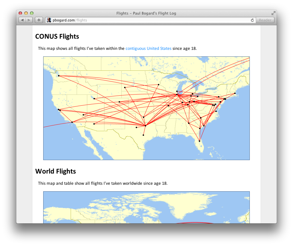 Screenshot of the maps on the Flights page