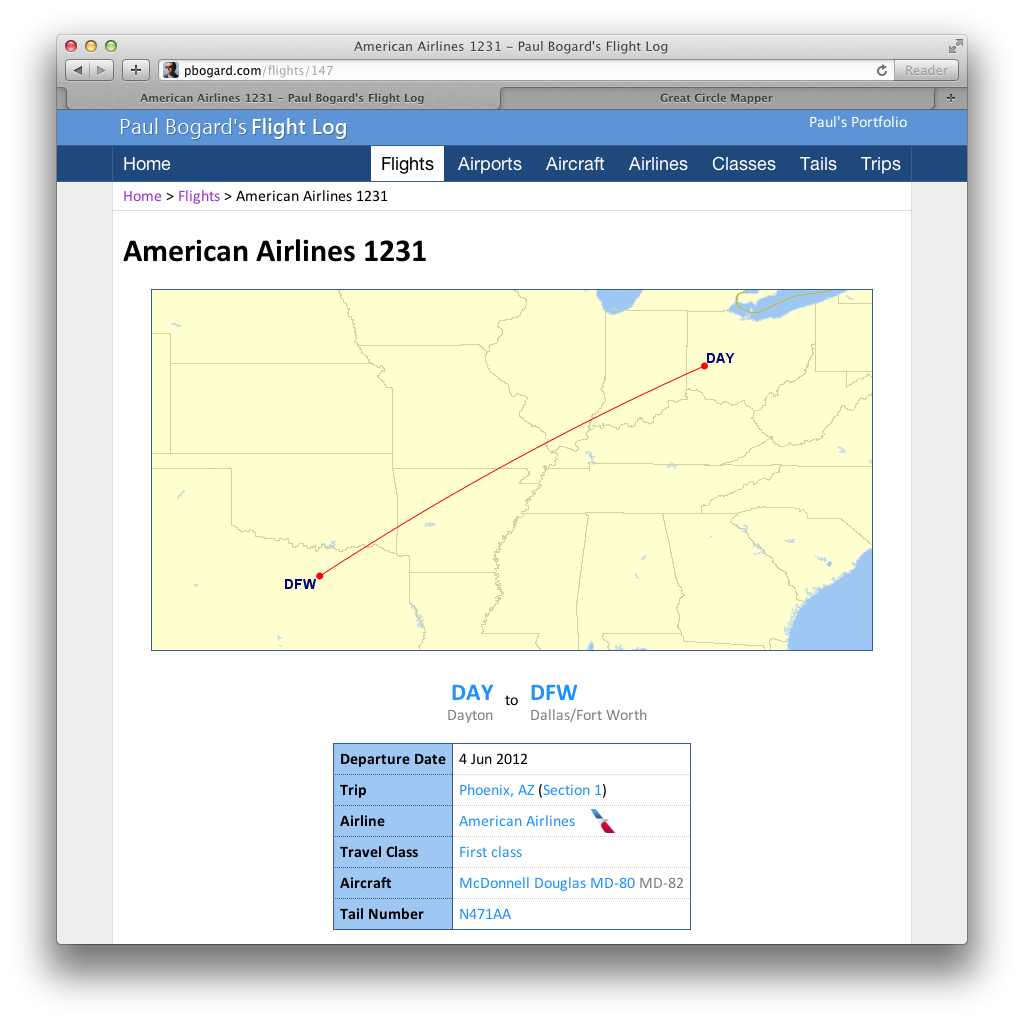Screenshot of the Show Flight page