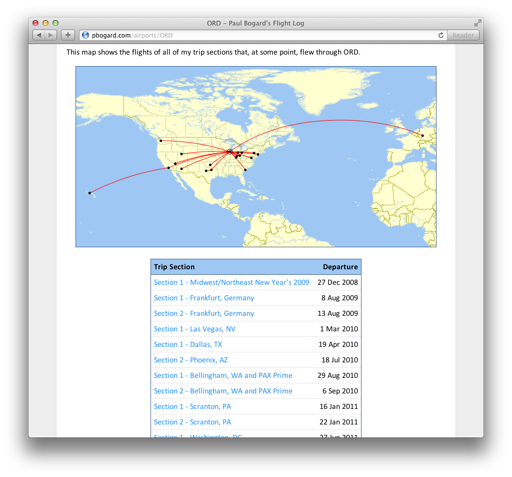 Screenshot of the trip sections map on the Show Airport page for Chicago O'Hare