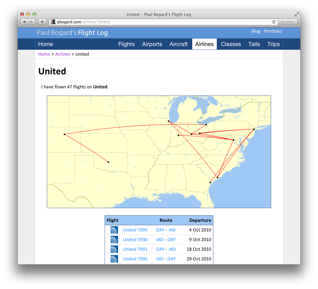 Screenshot of the Show Airline page for United