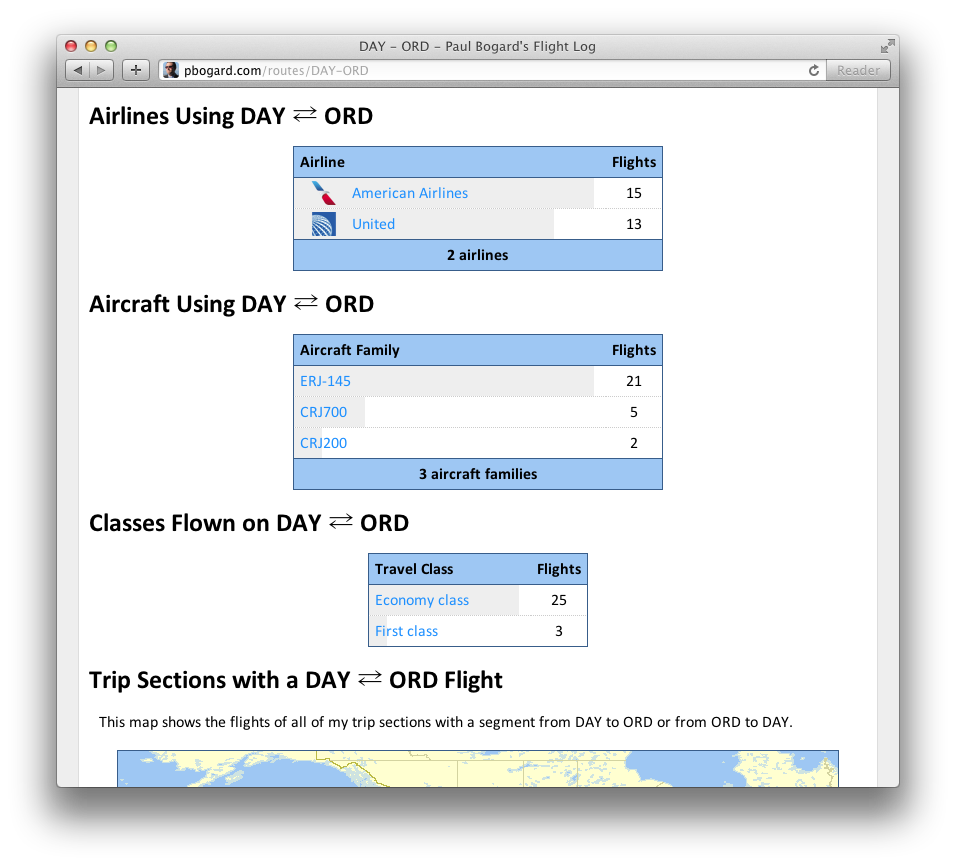 Screenshot of tables on Show Route page for DAY-ORD