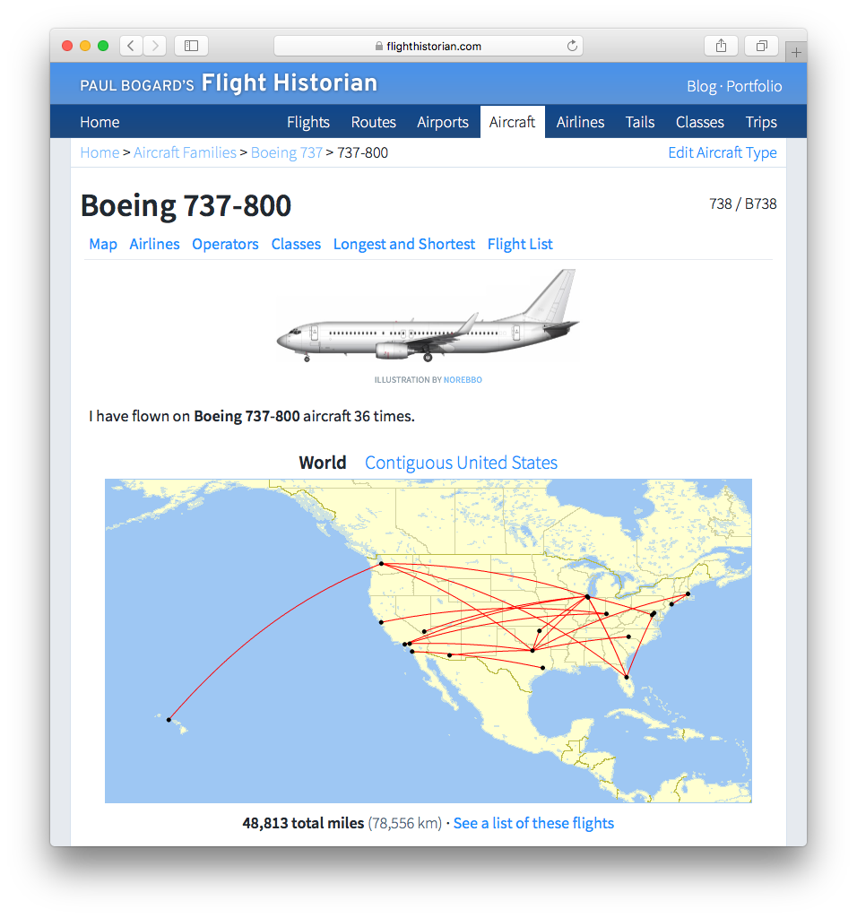 Screenshot of Show Aircraft Type page