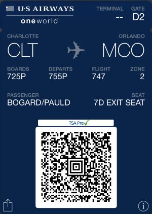 Screenshot of digital boarding pass