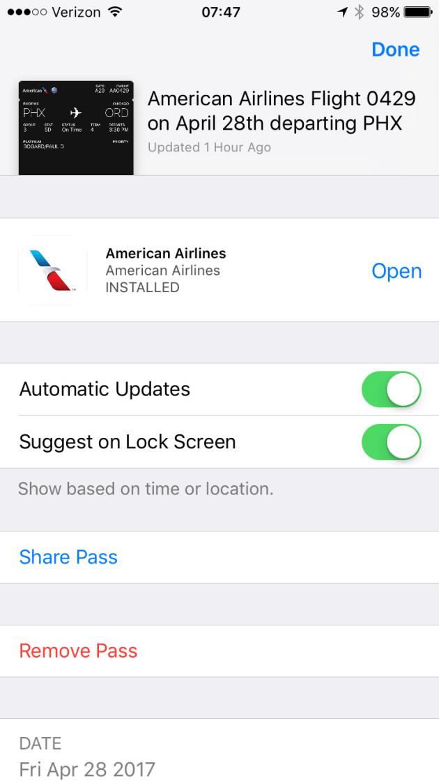 Screenshot of Apple Wallet