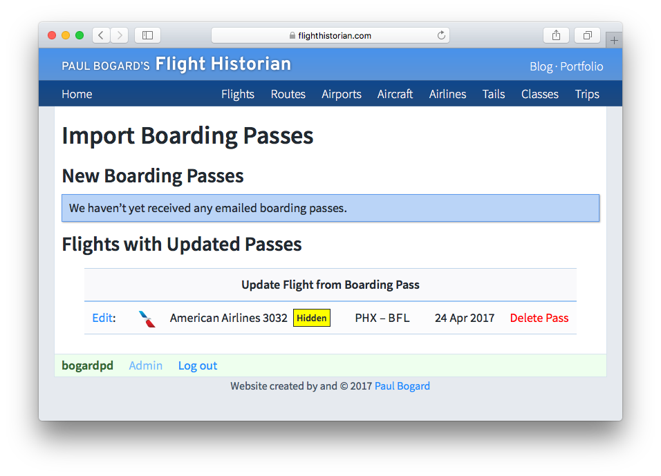 Screenshot of Import Boarding Passes page