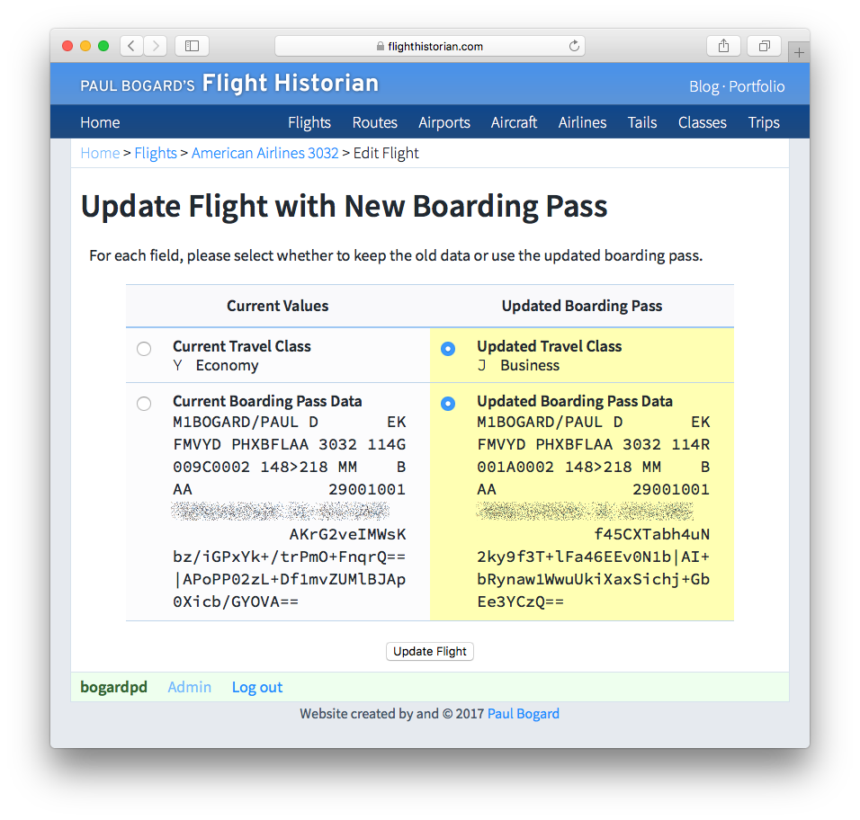 Screenshot of Update Flight with New Boarding Pass page