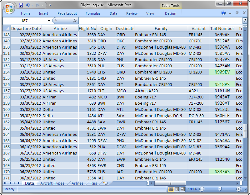 Screenshot of Excel spreadsheet containing flight data