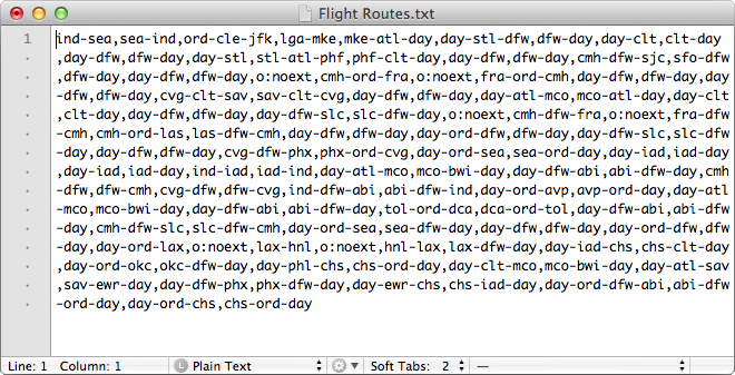Screenshot of text file containing flight routes