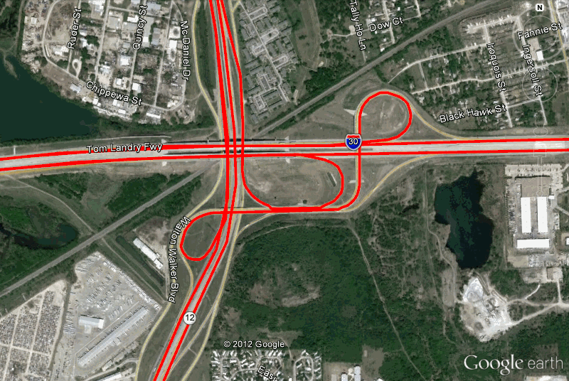 Google Earth map of driving tracks
