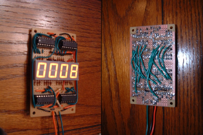 Counter circuit on a stripboard (front and view)