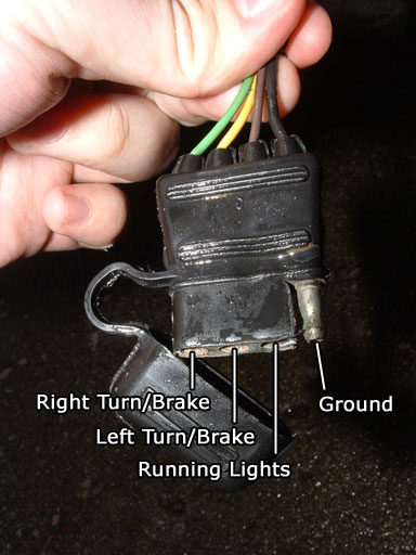 "Trailer electrical connector with three female pins on the left and one male pin on the right. From left to right, the connectors are labeled ""right turn/brake,"" ""left turn/brake,"" running lights,"" and ""ground."""