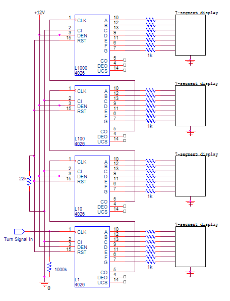 Schematic diagram for the counter circuit