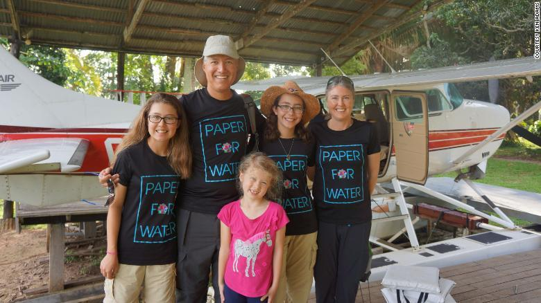 In 2017, the Adams family explored the globe for eight months and visited wells funded by Paper for Water.