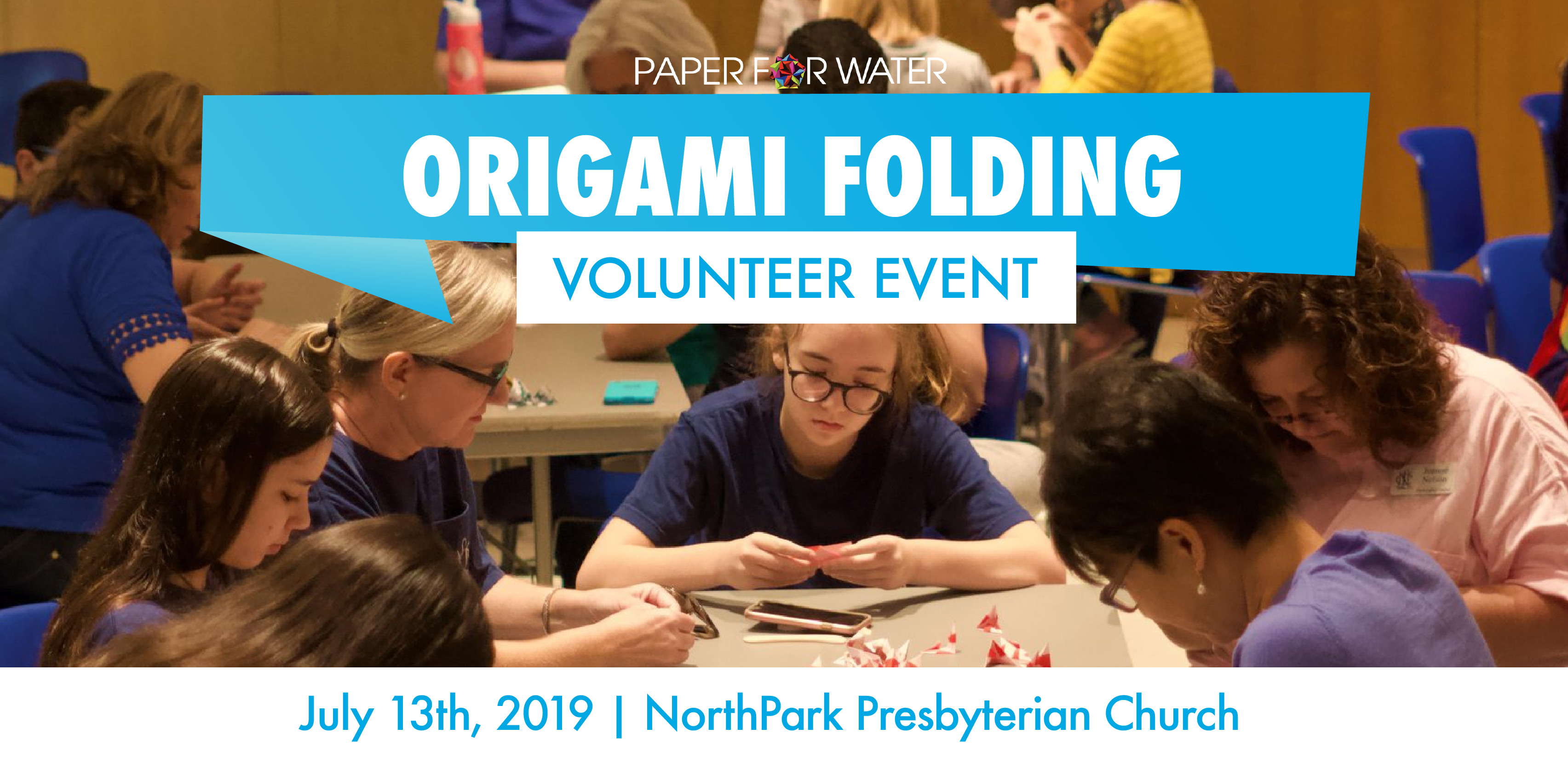 Origami folding volunteer event 07