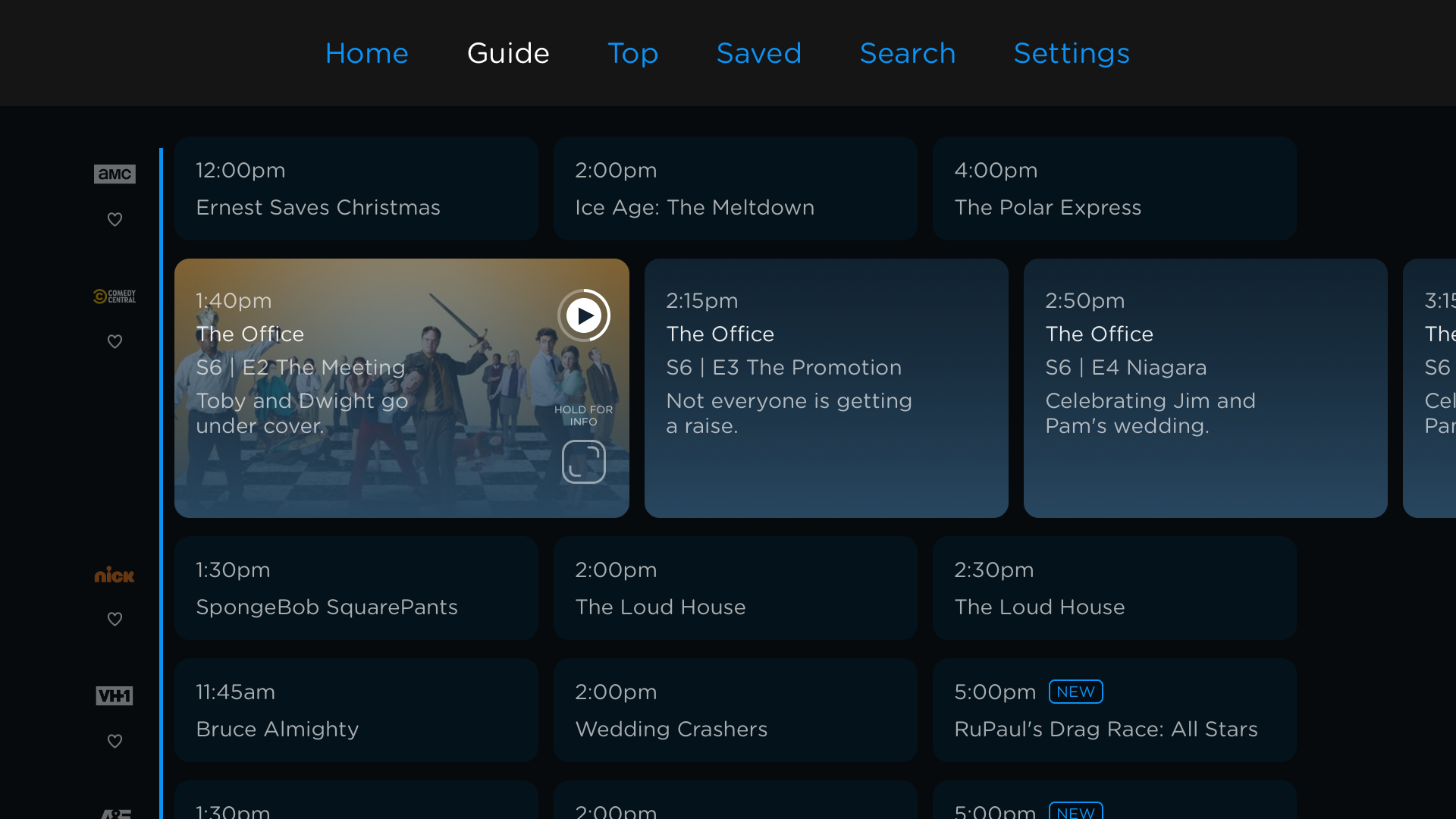 'Philo Guide on tvOS, live schedule'