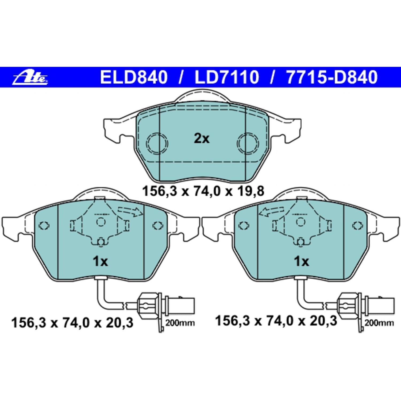 For Audi A4 A6 Quattro S6 VW Passat Front Disc Brake Pad Set ATE 607110