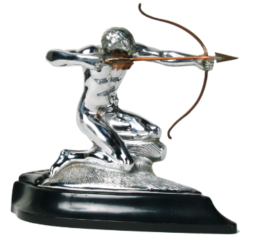 Pierce Arrow hood ornament, a silver archer firing an arrow.