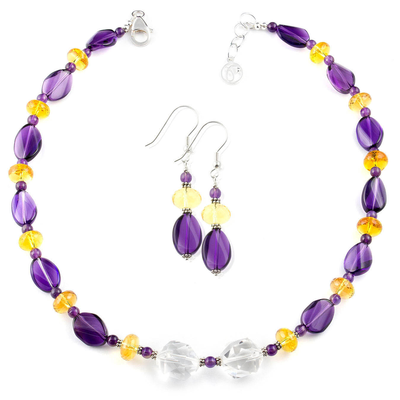 Buy the Amethyst, Citrine & Faceted Clear Quartz Multi-stone Necklace Set at Pirowna, a stone that promotes abundance and success by fostering a clear thinking pattern.