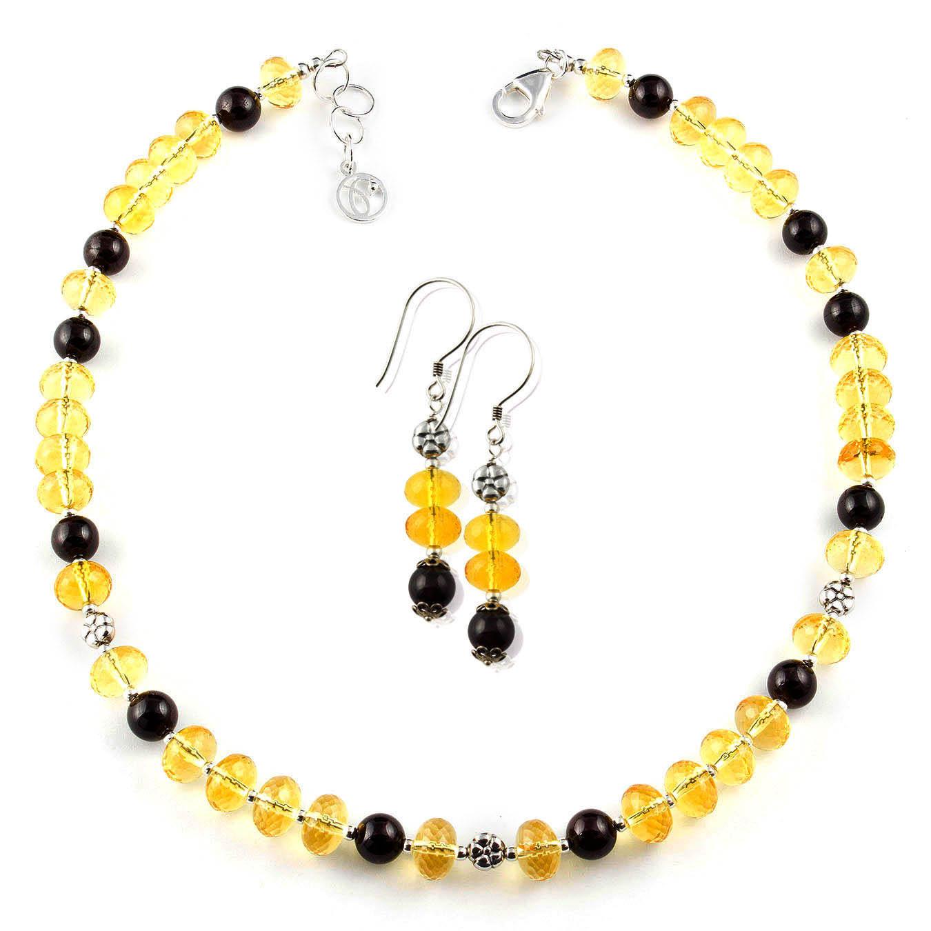 Citrine gemstone beaded jewelry set by Pirowna