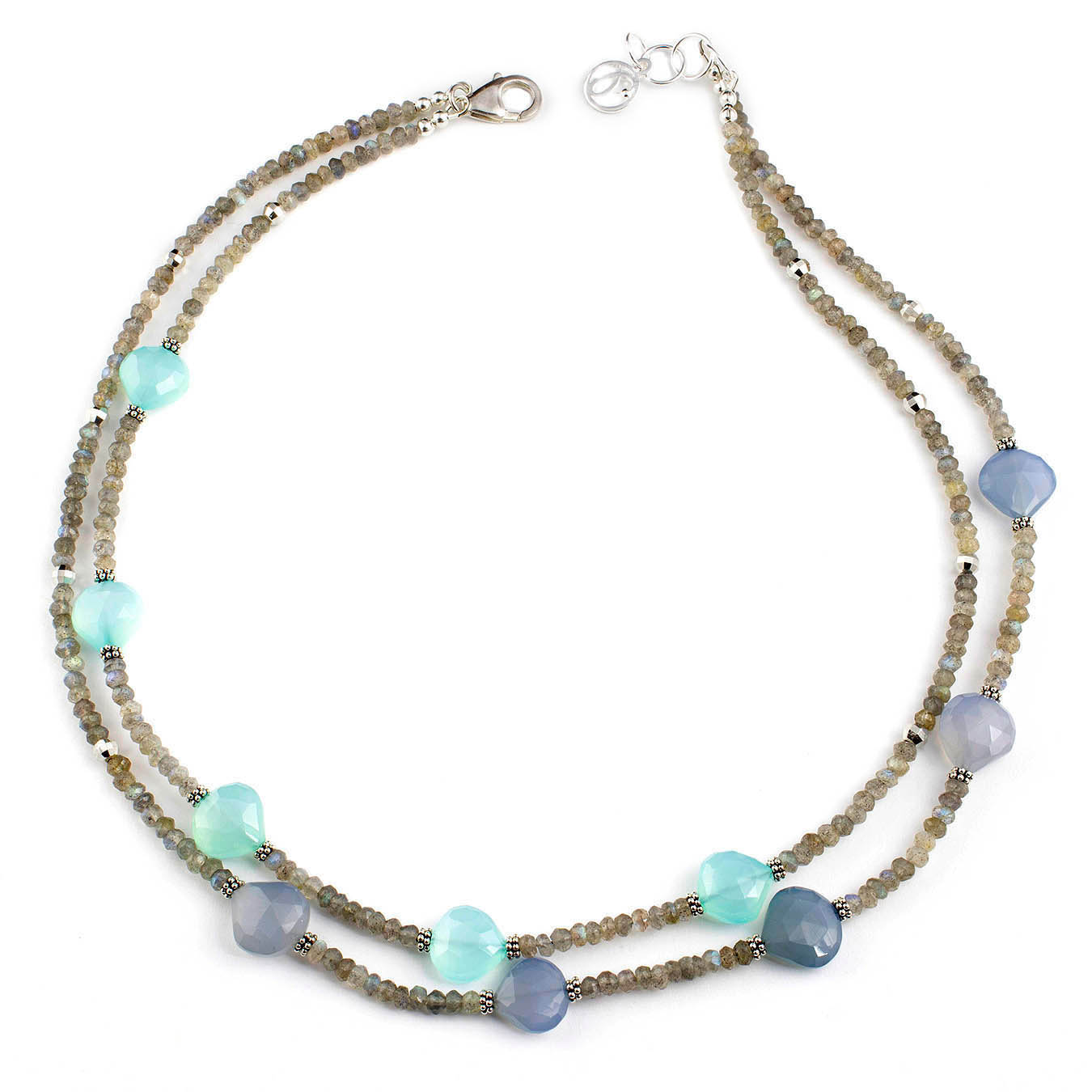 Double strand necklace made with labradorite and chalcedony gemstones