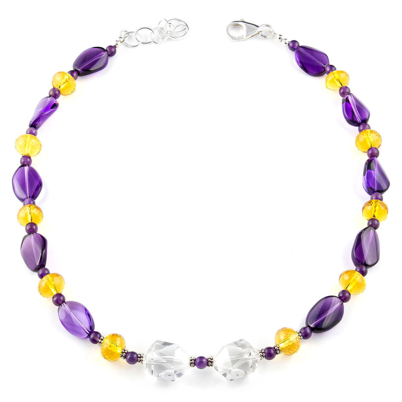 Handcrafted amethyst, citrine and rock crystal birthstone bead jewelry