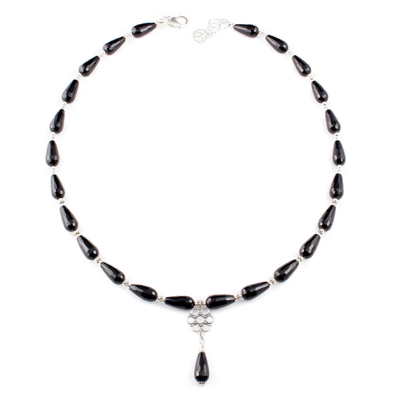 Handmade bali pendant  jewelry necklace made of teardrop black agate