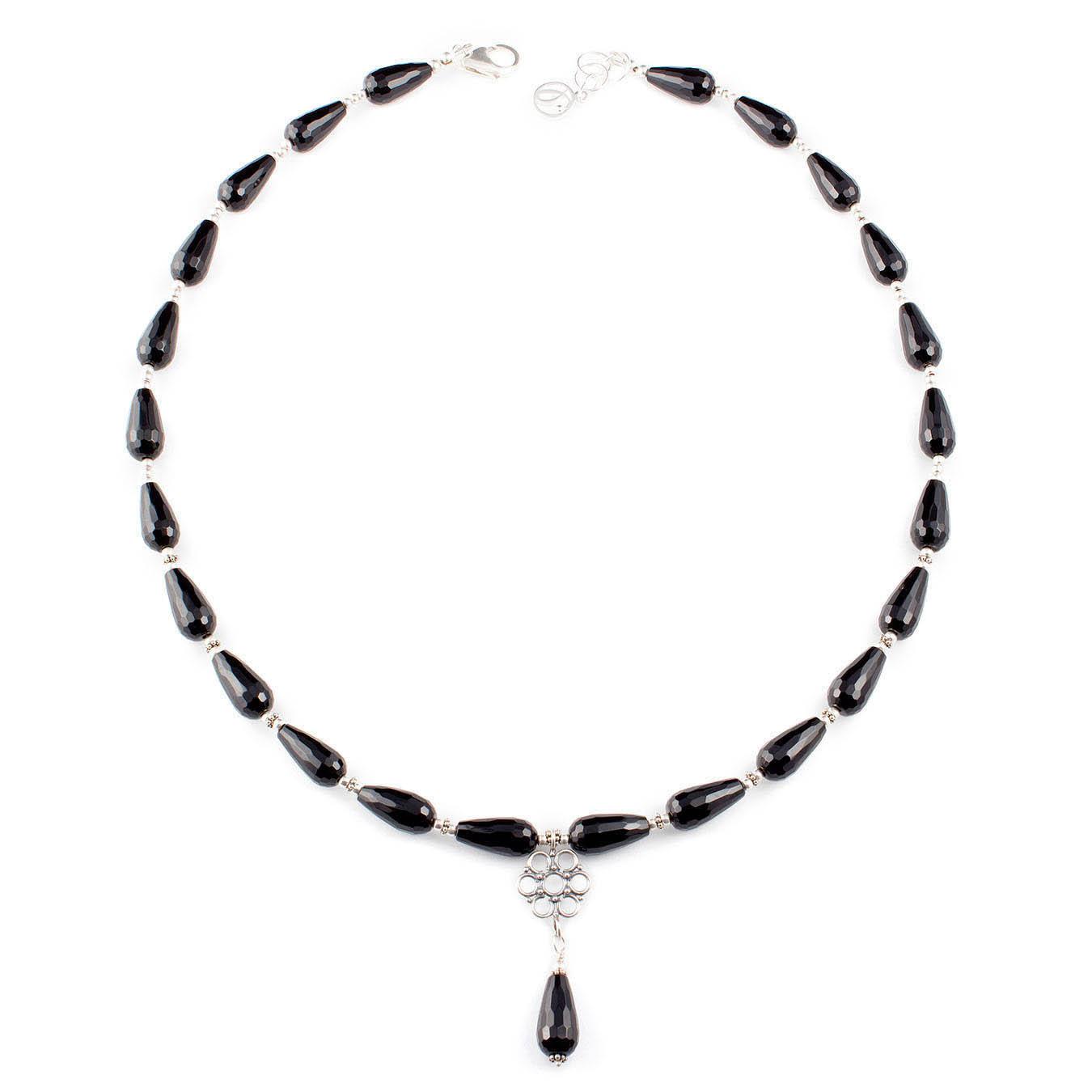 Handmade bali pendant  jewelry necklace made of teardrop black agate