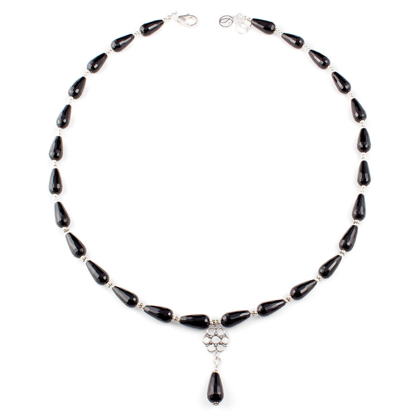 Handcrafted necklace made with black agate gemstones and bali silver