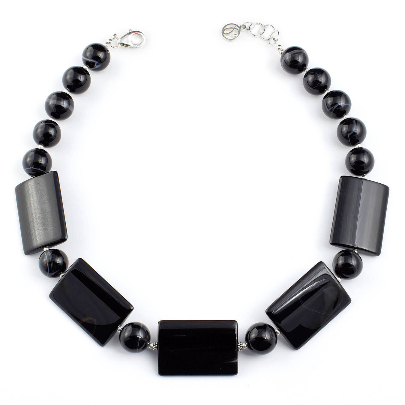 Collar necklace set made of chunky black lace agate and silver accents