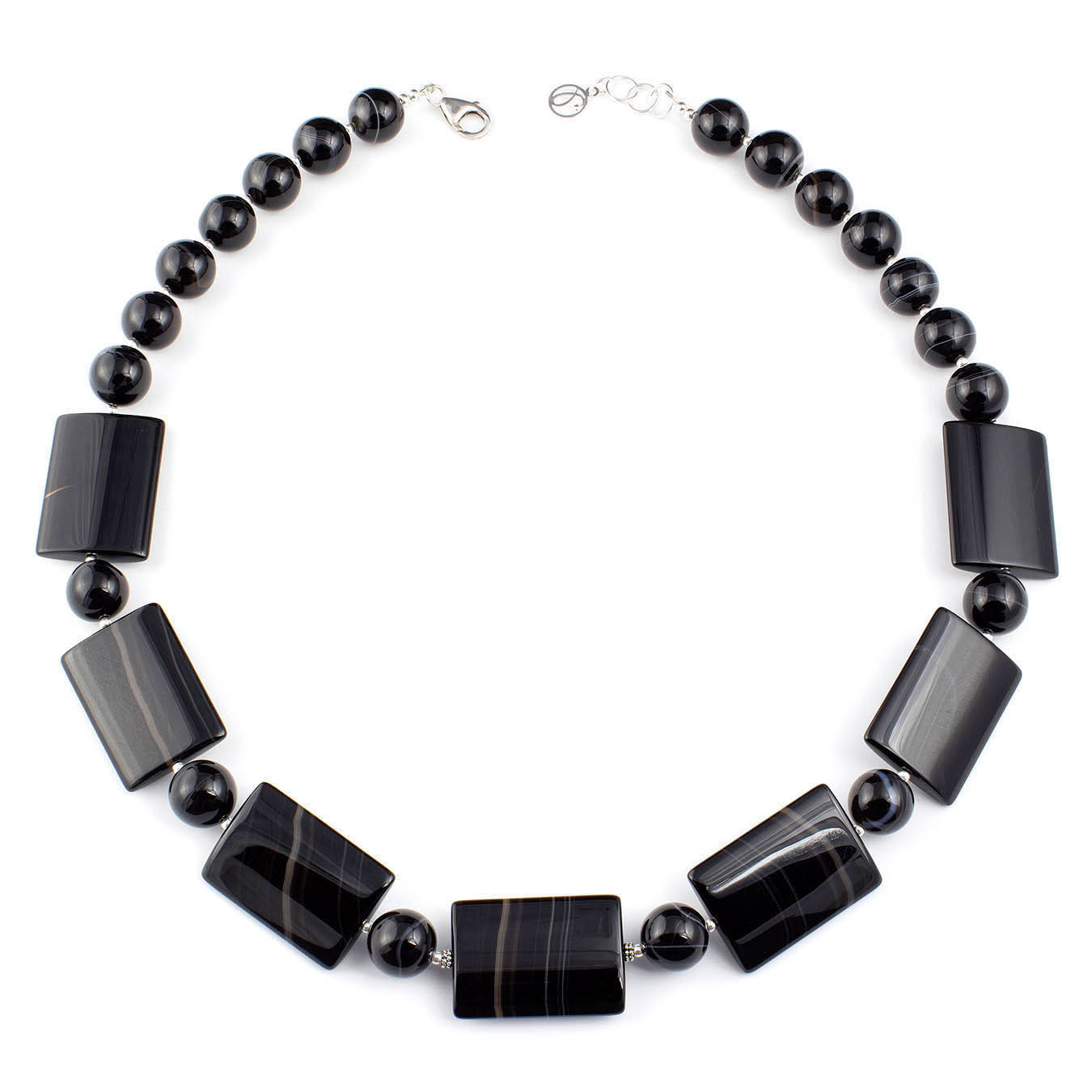 Handmade collar jewelry necklace with chunky black lace agate gemstone