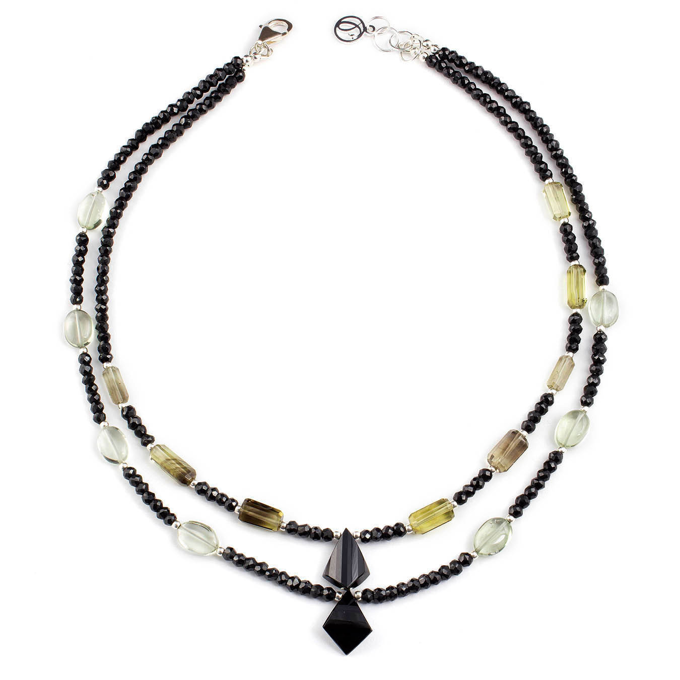 Gemstones necklace made with spinel, lemon quartz and green amethyst