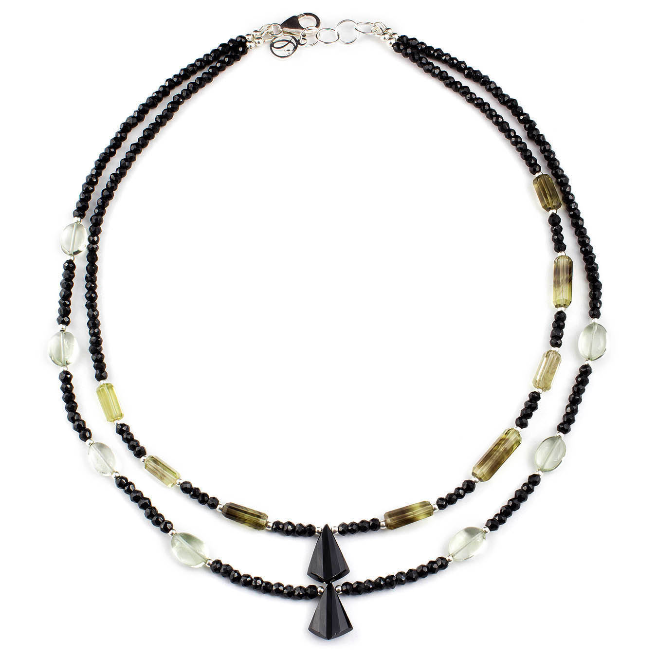 Beaded double strand necklace made of spinel, quartz and amethyst