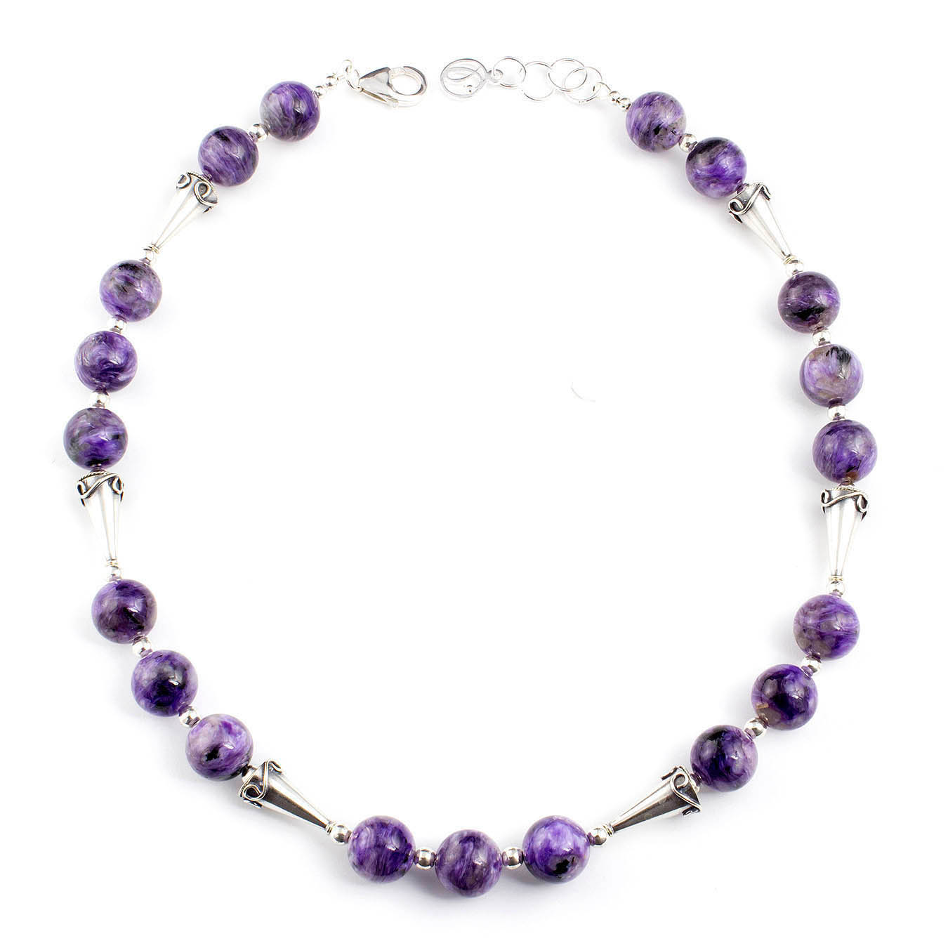 Semi-precious necklace set made with purple charoite and Bali beads