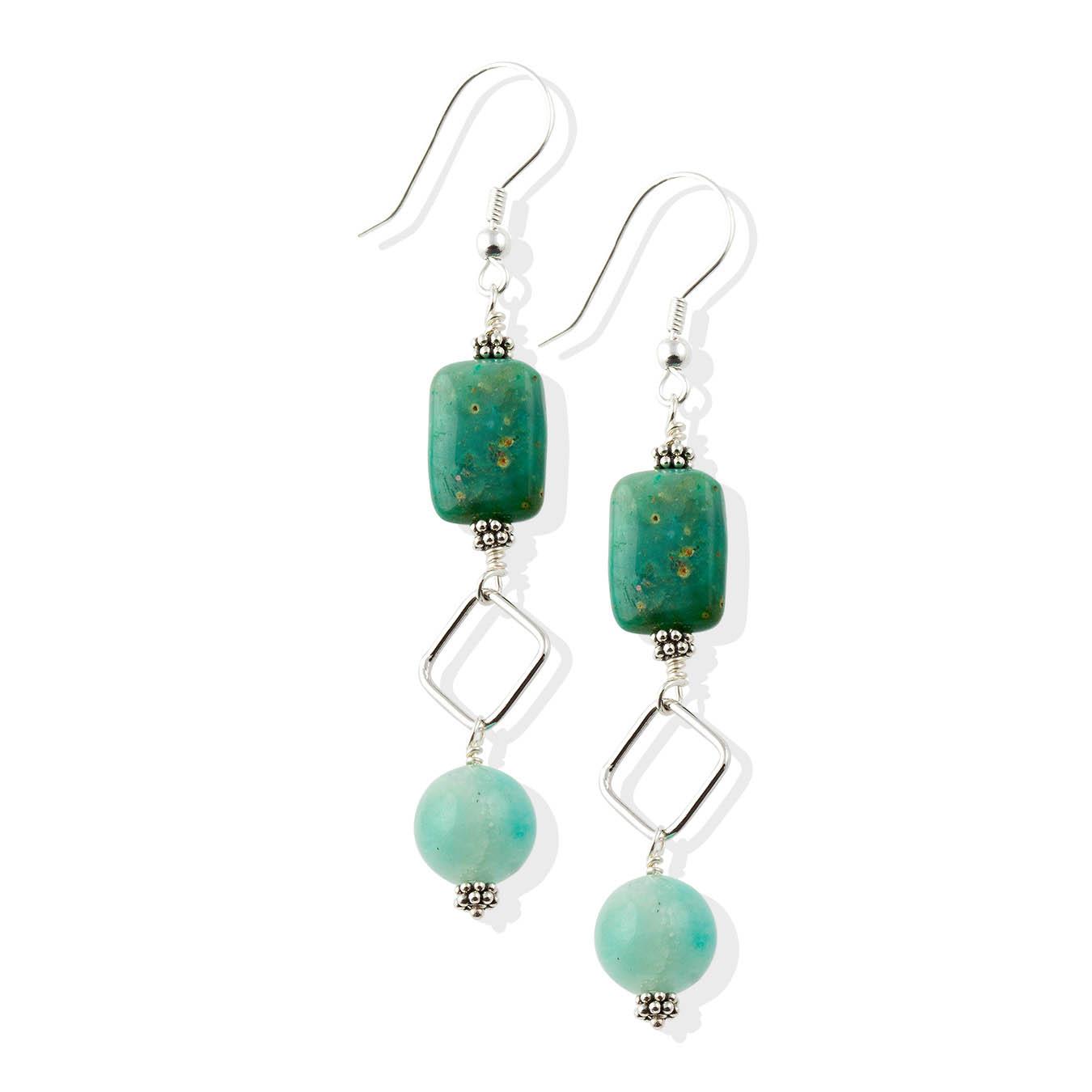 Amazonite and chrysocolla gemstones wire pendant  necklace set