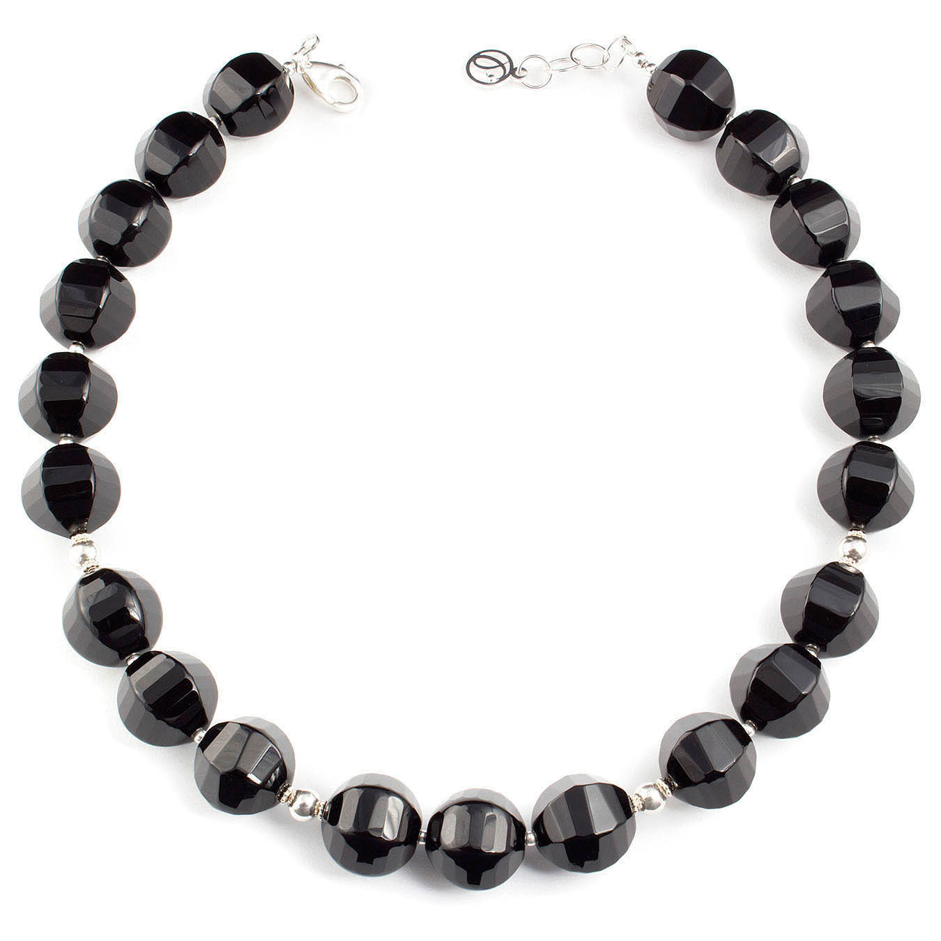 Chunky necklace set made with faceted black agate and 925 silver beads