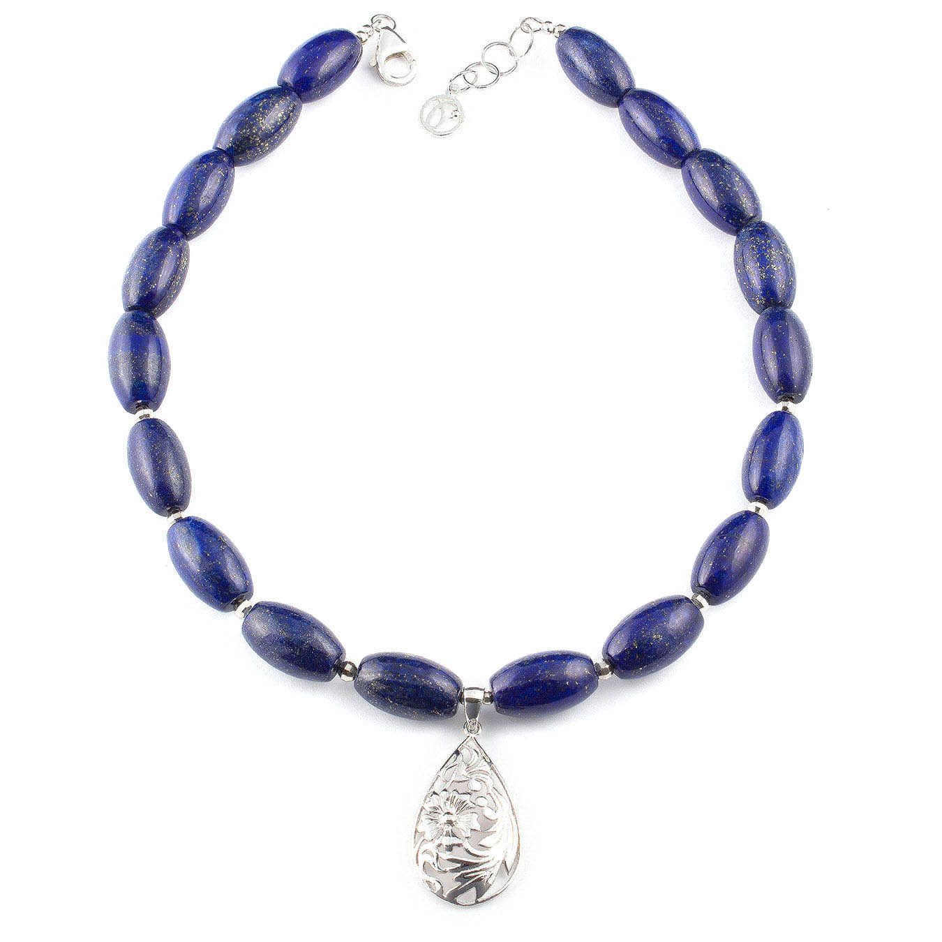 Gemstone pendant necklace set made of twisted lapis lazuli and silver