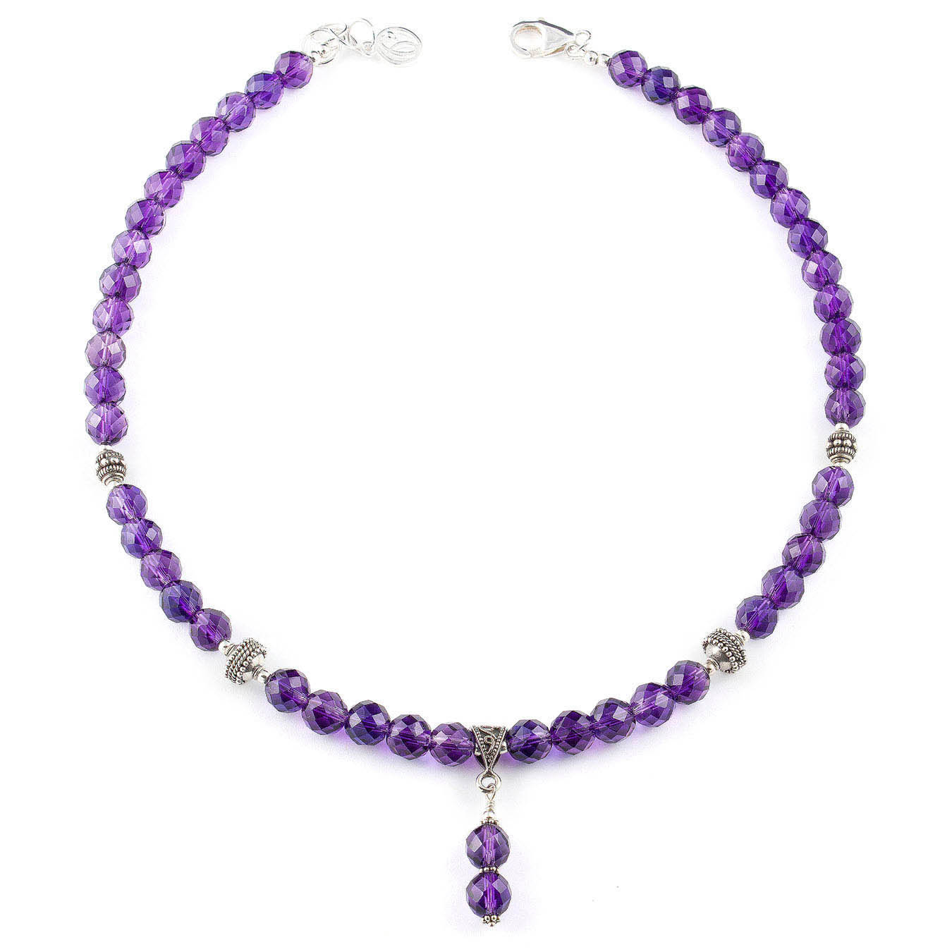 Pendant style necklace set made with faceted amethyst and bali silver