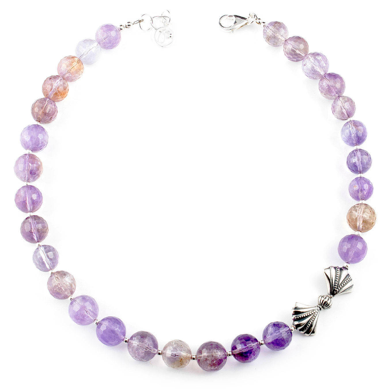 Choker style necklace set made with ametrine and bow tie bali silver