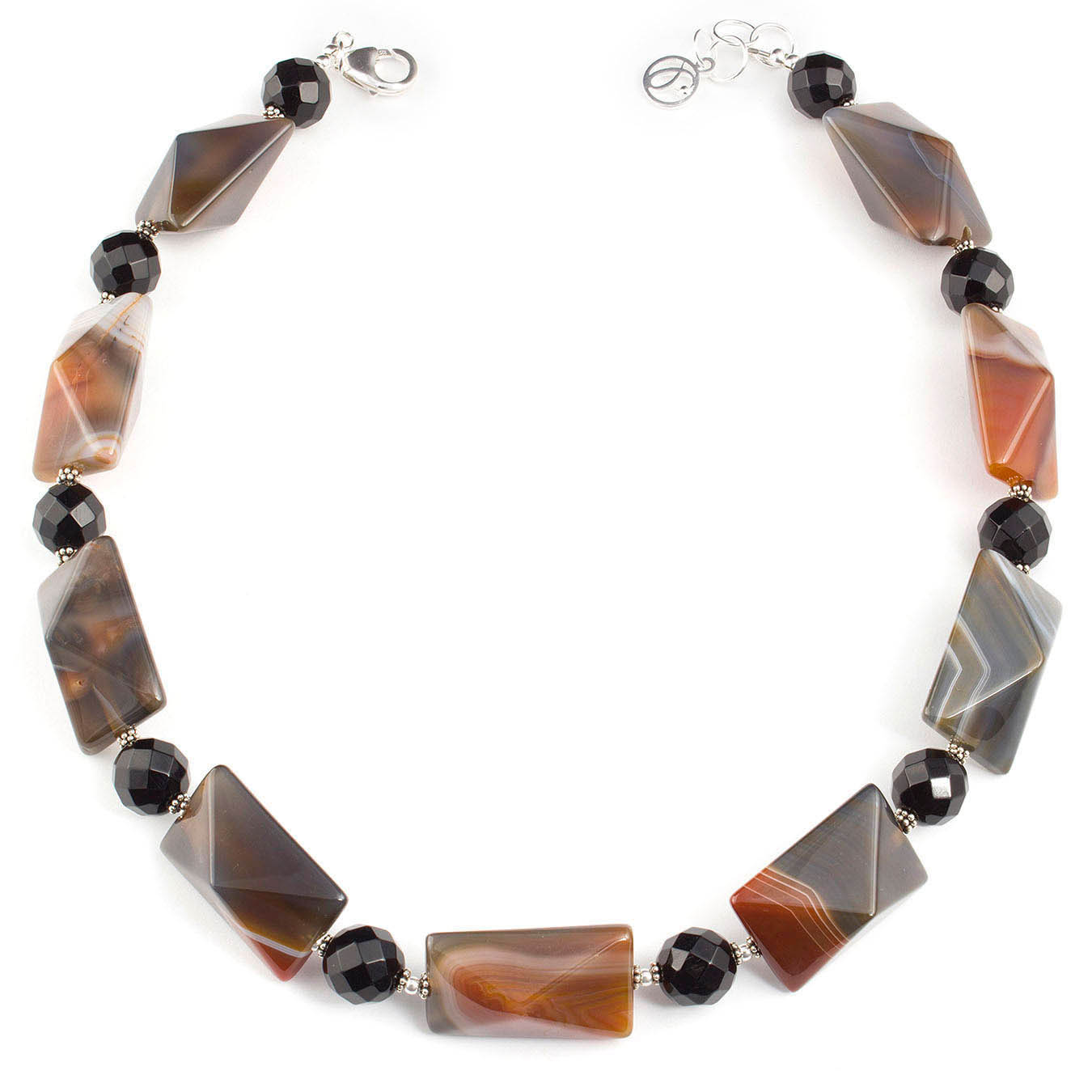 Choker style necklace set made with faceted teardrop black agate